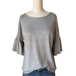 Gray tee with bell sleeves